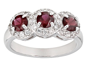 Pre-Owned Red Garnet Sterling Silver Ring 1.32ctw