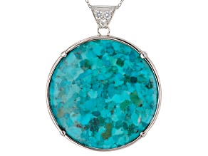 Pre-Owned Blue Turquoise Sterling Silver Pendant With Chain .81ctw