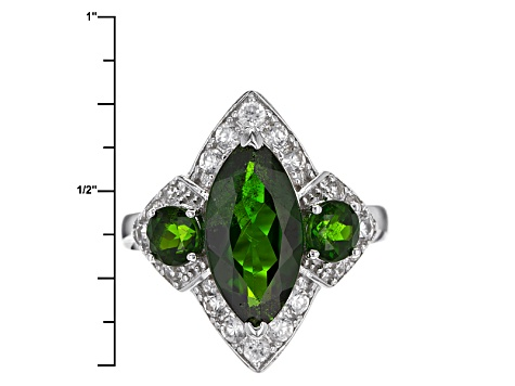 Pre-Owned Green Chrome Diopside Sterling Silver Ring 4.49ctw