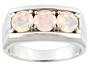 Pre-Owned Ethiopian Opal Sterling Silver Mens Ring. 1.02ctw