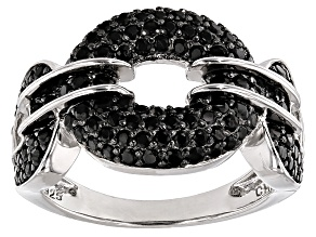 Pre-Owned Black Spinel Sterling Silver Ring. 1.14ctw