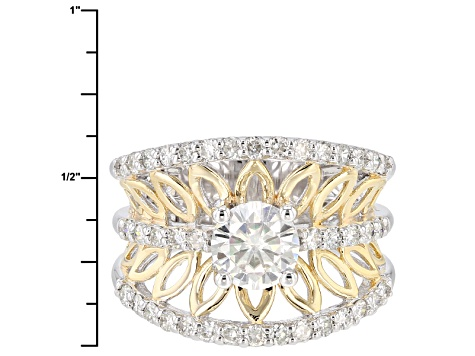Pre-Owned Moissanite Platineve And 14k Yellow Gold Over Silver Ring 1.80ctw D.E.W