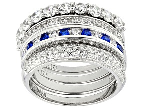 Pre-Owned Blue Synthetic Spinel And White Cubic Zirconia Rhodium Over Sterling Rings 2.74ctw