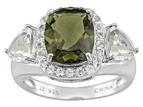 Pre-Owned Green Moldavite And White Topaz Sterling Silver Ring 3.72ctw.