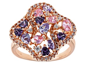 Pre-Owned Purple, Pink And White Cubic Zirconia 18k Rose Gold Over Sterling Silver Ring 3.55ctw