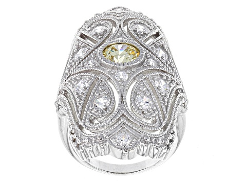 Pre-Owned Yellow And White Cubic Zirconia Sterling Silver Cocktail Ring 3.07ctw