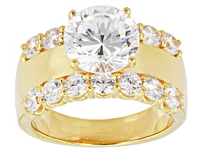 Pre-Owned White Cubic Zirconia 18k Yellow Gold Over Silver Ring 7.29ctw