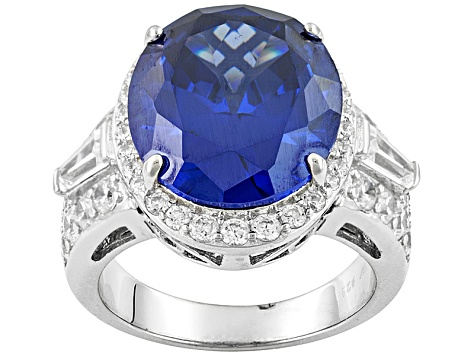 Pre-Owned Blue And White Cubic Zirconia Sterling Silver Ring 17.71ctw