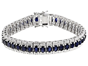 Pre-Owned Blue Sapphire Sterling Silver Bracelet 15.13ctw