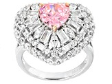 Pre-Owned Pink And White Cubic Zirconia Rhodium Over Sterling Silver Ring 9.36ctw