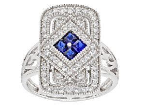 Pre-Owned Blue Created Spinel And White Cubic Zirconia Rhodium Over Sterling Silver Ring 1.40ctw