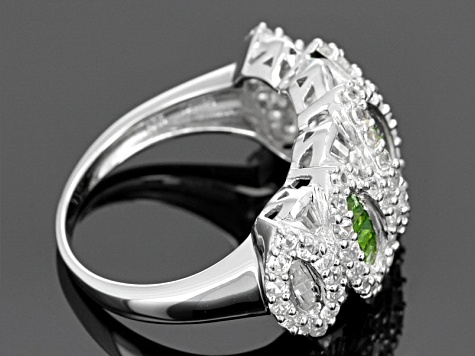 Pre-Owned Green Chrome Diopside Sterling Silver Ring 4.63ctw
