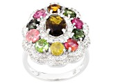 Pre-Owned Multi-Color Tourmaline And White Zircon Sterling Silver Ring 4.25ctw