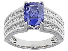 Pre-Owned Blue And White Cubic Zirconia Rhodium Over Sterling Silver Ring 4.77ctw