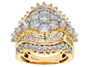 Pre-Owned White Cubic Zirconia 18k Yellow Gold Over Silver 6.77ctw (4.71ctw DEW)