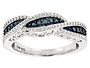Pre-Owned Blue Diamond Accent Rhodium Over Sterling Silver Ring .02ctw