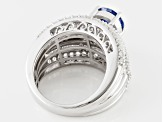 Pre-Owned Blue And White Cubic Zirconia Silver Ring 7.29ctw
