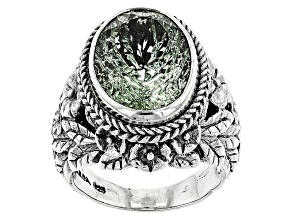 Pre-Owned Green Prasiolite Silver Ring 6.80ctw