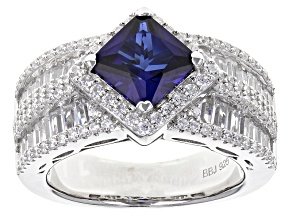 Pre-Owned Lab Created Sapphire And White Cubic Zirconia Rhodium Over Sterling Ring 5.15ctw