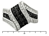 Pre-Owned Black Spinel Sterling Silver Ring 1.09ctw