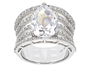 Pre-Owned White Cubic Zirconia Rhodium Over Sterling Silver Ring 10.63ctw