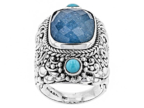 Pre-Owned Blue Quartz Doublet Silver Ring
