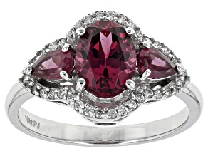 Pre-Owned Purple Grape Color Garnet 10k White Gold Ring 2.17ctw