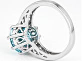 Pre-Owned Blue And White Cubic Zirconia Silver Ring 7.06ctw