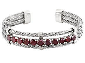Pre-Owned Red Garnet Sterling Silver Cuff Bracelet 6.00ctw