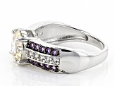 Pre-Owned Fabulite Strontium Titanate, Amethyst And .23ctw Zircon Sterling Silver Ring 3.11ctw
