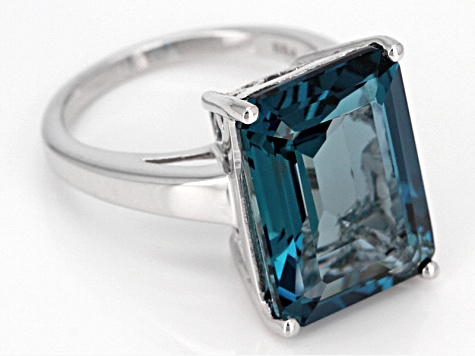 Pre-Owned London Blue Topaz Sterling Silver Ring 12.75ct