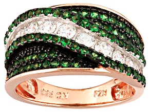 Pre-Owned Green And White Cubic Zirconia 18k Rg Over Silver And Black Rhodium Over Silver Ring 1.60c