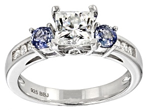 Pre-Owned Moissanite Fire® 1.88ctw DEW And .66ctw Blue Sapphire Platineve Ring