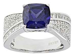 Pre-Owned Blue And White Cubic Zirconia Silver Ring 7.30ctw