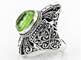 Pre-Owned Kiwi Green Mother Of Pearl Triplet Silver Ring