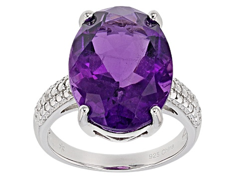 Pre-Owned Purple African Amethyst Sterling Silver Ring 11.67ctw