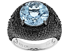 Pre-Owned Blue Topaz Sterling Silver Ring 9.82ctw