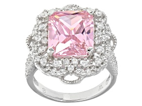 Pre-Owned Pink And White Cubic Zirconia Rhodium Over Sterling Silver Ring 10.55ctw