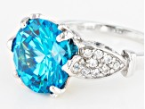 Pre-Owned Blue And White Cubic Zirconia Rhodium Over Sterling Silver Ring 11.72ctw