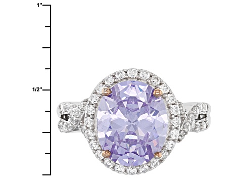 Pre-Owned Lavender And White Cubic Zirconia Rhodium And 18k Rose Gold Over Silver Ring 9.54ctw