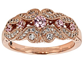 Pre-Owned Pink And White Cubic Zirconia 18k Rose Gold Over Sterling Silver Ring .96ctw