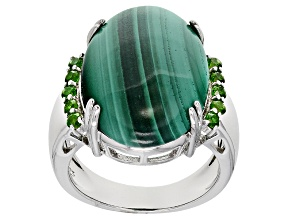 Pre-Owned Green Malachite Sterling Silver Ring .41ctw