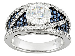 Pre-Owned White And Blue Cubic Zirconia Silver Ring 5.09ctw