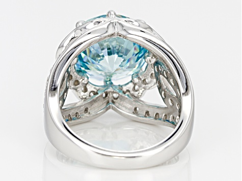 Pre-Owned Blue And White Cubic Zirconia Silver Ring 10.89ctw