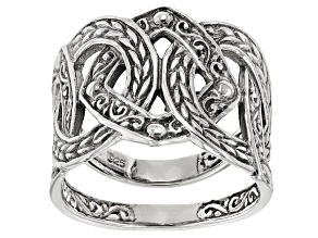 Pre-Owned Sterling Silver Geometric Twist Ring