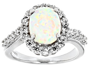 Pre-Owned Lab Created Opal And White Cubic Zirconia Silver Ring 3.09ctw
