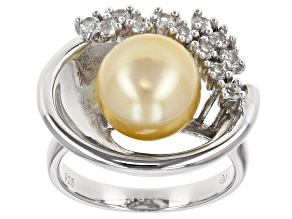 Pre-Owned Cultured South Sea Pearl And White Zircon Rhodium Over Silver Ring 10mm