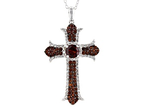 Pre-Owned Red Garnet Sterling Silver Cross Pendant With Chain 2.88ctw