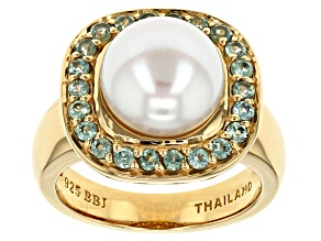 Pre-Owned Cultured Freshwater Pearl And Chrysoberyl 18k Yellow Gold Over Silver Ring