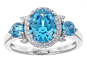 Pre-Owned Blue And White Cubic Zirconia Rhodium Over Sterling Silver Ring 3.62ctw